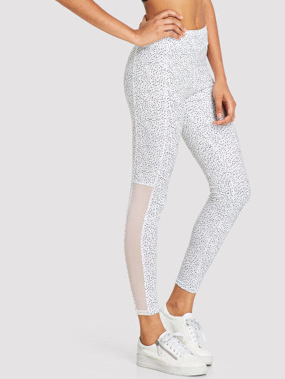 Polka Dot Mesh Insert Leggings