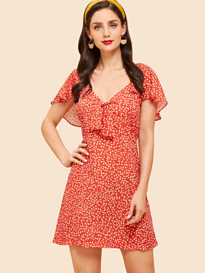 Butterfly Sleeve Knot Dress
