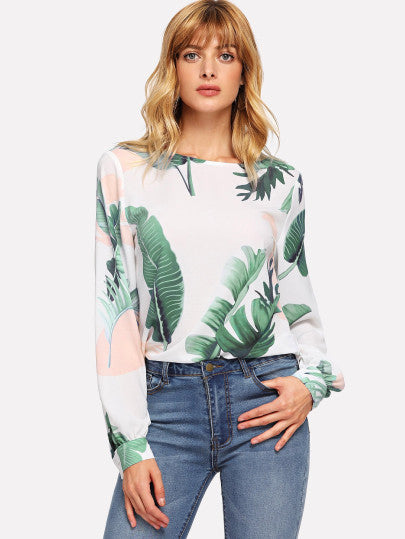 Keyhole Back Tropical Print Blouse