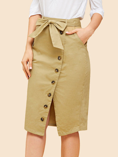 Tie Waist Button Front Slit Hem Skirt