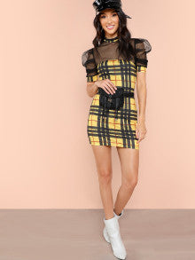 Contrast Mesh Puff Sleeve Top & Plaid Skirt Set