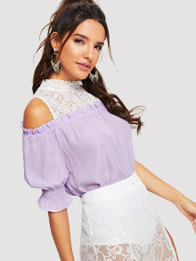 Cut And Sew Lace Ruffle Top