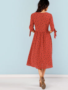 Button Up Knot Polka Dot Dress
