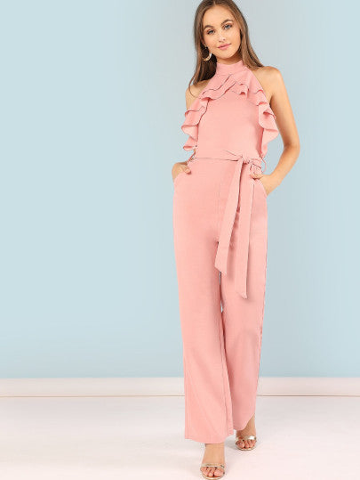 Mock Neck Layered Ruffle Trim Belted Jumpsuit