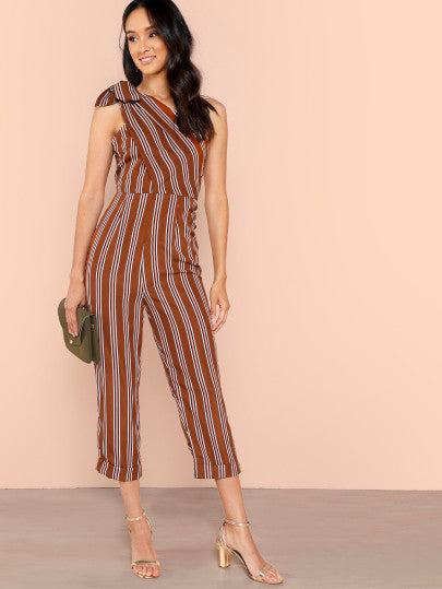Knot One Shoulder Striped Jumpsuit