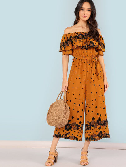 Flower Print Flounce Off Shoulder Jumpsuit