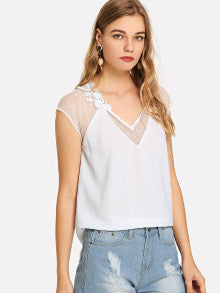 Dot Mesh Insert Lace Trim Top