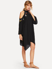 Open Shoulder Embroidery Hanky Hem Dress