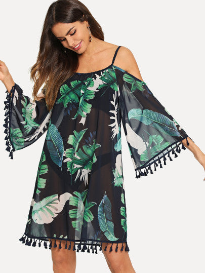 Tassel Trim Cold Shoulder Tropical Dress