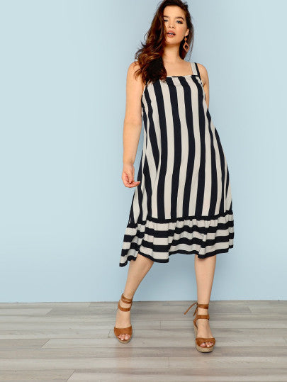 Plus Ruffle Hem Striped Dress