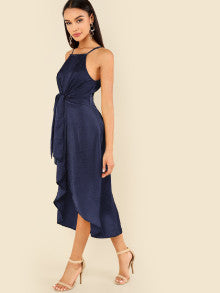 Knot Front Wrap Cami Dress