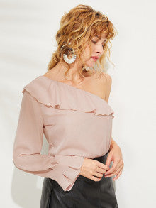 One Shoulder Flounce Foldover Front Top