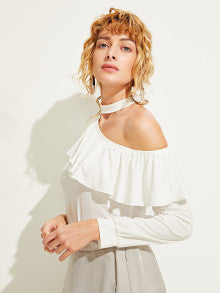 Flounce Asymmetric Neck Top