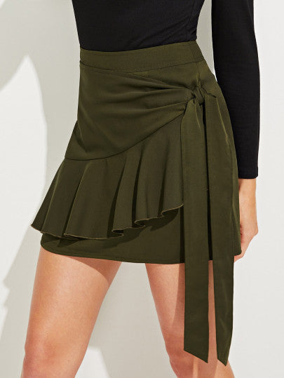 Wrap Knot Side Ruffle Hem Skirt