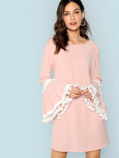 Tassel Trim Bell Sleeve Dress