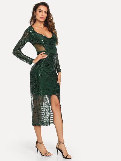 Contrast Sequin Zip Back Dress