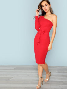 One Shoulder Bow Front Pencil Dress