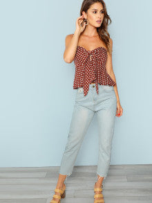 Knot Front Polka Dot Bandeau Top
