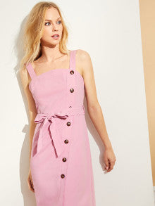 Button Front Split Belted Shell Dress
