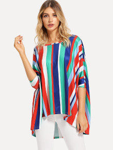 Colorful Striped Batwing Top