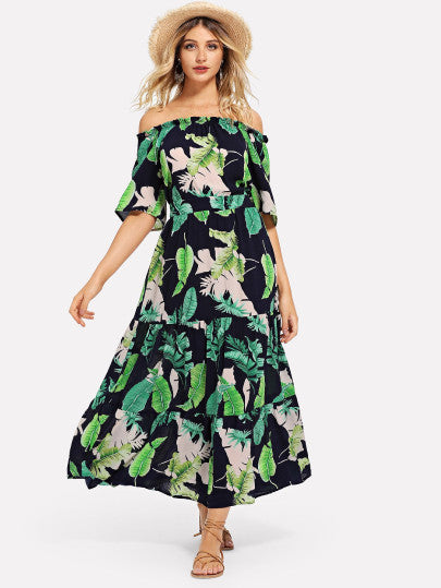Jungle Leaf Print Bardot Dress