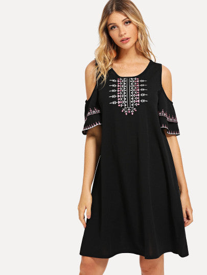 Cold Shoulder Botanical Embroidered Dress