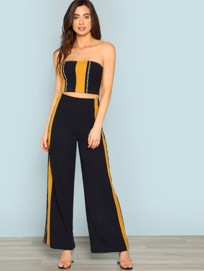 Striped Crop Top & Wide Leg Pants Co-Ord