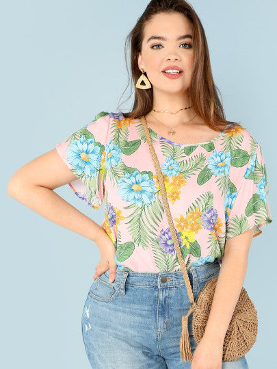 Plus Tropical Print Top
