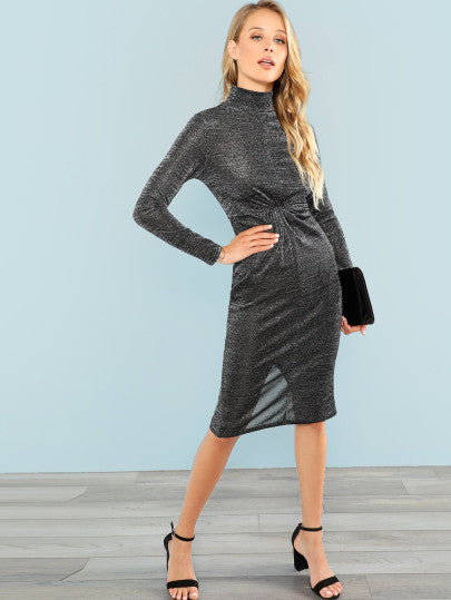 Twist Front Glitter Mock Dress