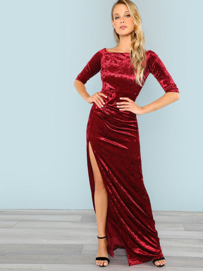 Off Shoulder Maxi Velvet Dress