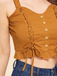 Lace Up Ruffle Hem Button Up Crop Top