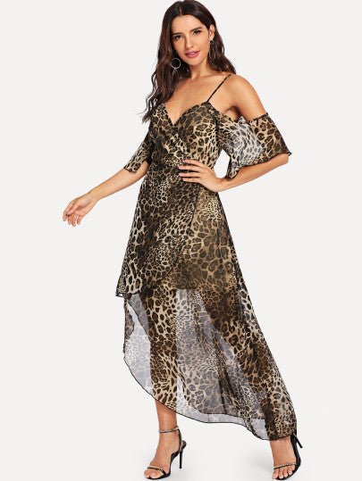 Cold Shoulder Leopard Wrap Dress