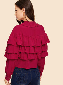 Button Up Tiered Layered Ruffle Blouse