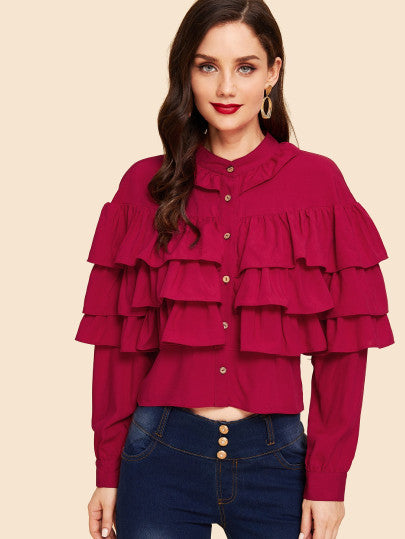 RZX  Button Up Tiered Layered Ruffle Blouse