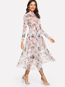 Mock Neck Semi Sheer Pleated Floral Dress