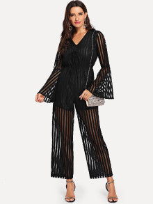 Striped Flounce Sleeve Sheer Jumpsuit
