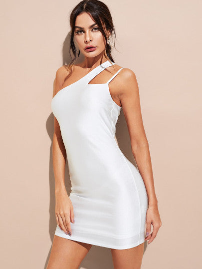 One Shoulder Silky Fitted Dress