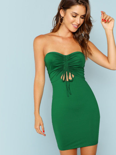 Drawstring Cut Out Front Strapless Striped Dress
