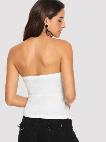 Button Embellished Wrap Split Front Bandeau Top