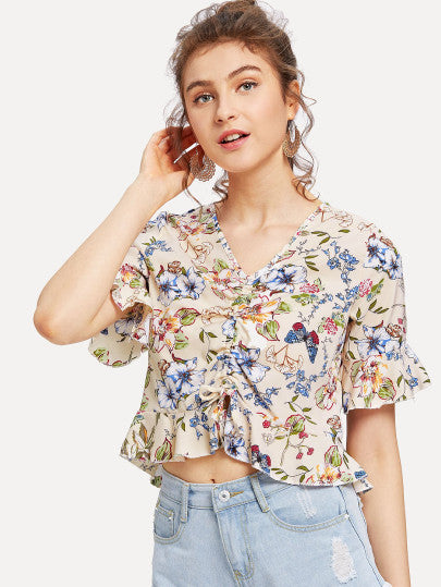 Floral Print Drawstring Front Ruffle Crop Top