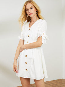 Button Up Puff Sleeve Solid Dress