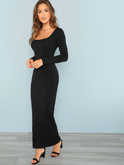 RZX Square Neck Fitted Maxi Dress