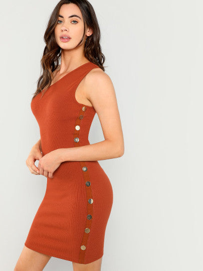 Button Side Asymmetrical Neck Bodycon Dress