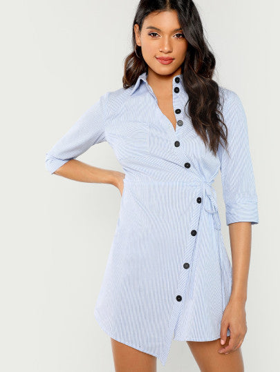 Asymmetric Placket Striped Shirt Dress
