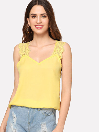V-Neck Lace Strap Top