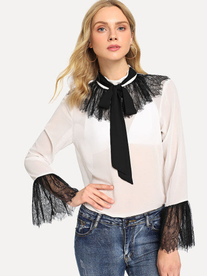Tie Neck Eyelash Lace Trim Semi Sheer Blouse