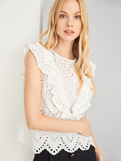 Ruffle Trim Eyelet Embroidered Top