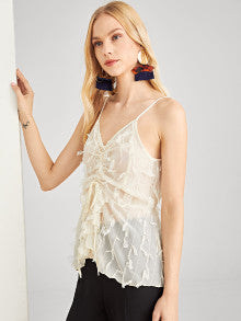 Fringe Embellished Cami Crop Top