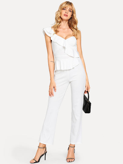 Ruffle Detail One Shoulder Solid Jumpsuit