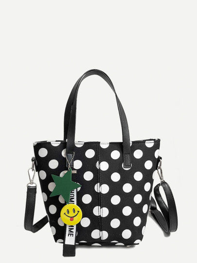 Polka Dot Satchel Bag With Charm